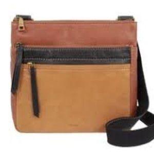 "FOSSIL ""Corey"" Ladies tan leather crossbody bag"